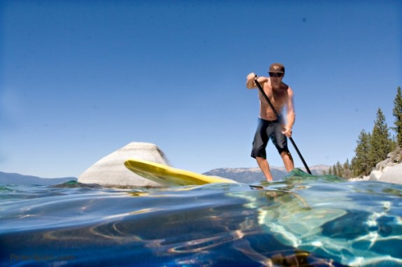 Stand-up paddleboarding on Lake Tahoe