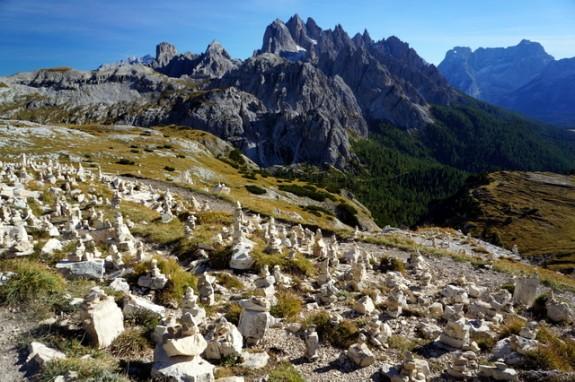garden of rock cairns near the Tre Cime