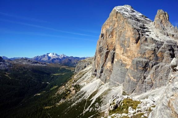 the impressive south face of Tofane rises above Cortina