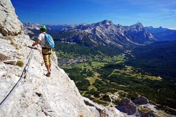 above Cortina on a via ferrata
