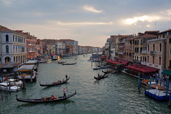 classic evening view of the Grand Canal from the Rialto Bridge