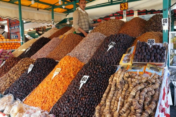 Dried fruits and nuts for sale in the square
