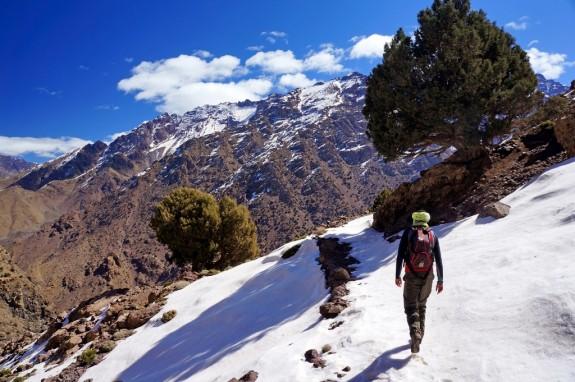 Yusef hiking through the snow