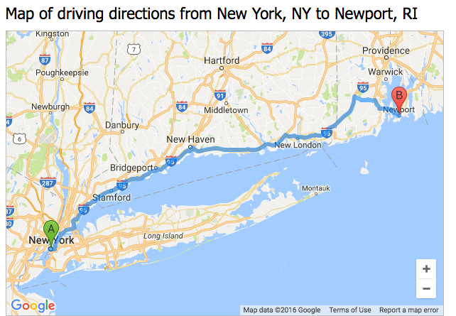 Map direction from New York to Newport